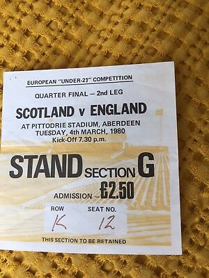 Scotland vs England Under 21s Ticket 4th March 1980