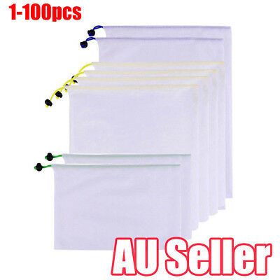 1-100x Eco Friendly Reusable Mesh Produce Bags Double-Stitched Strength vv