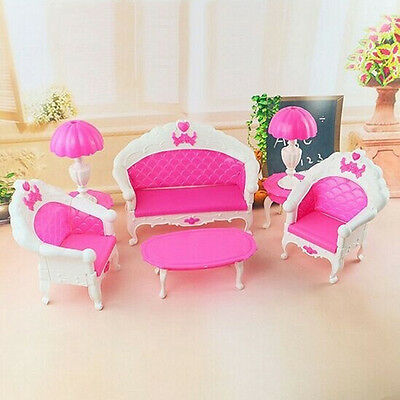 6pcs Scale Dollhouse Furniture For Barbie Dolls Chair Armchair Living Room Sofa