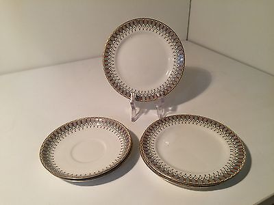 Vintage Aynsley England 3 side plates 2 saucers A4010 China Collectable