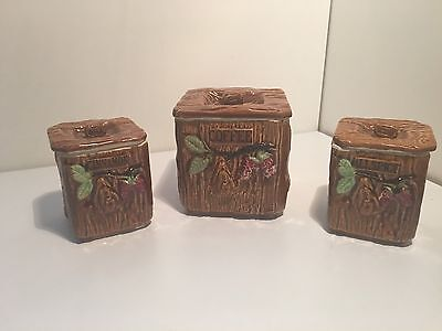 Three 3 Kitchen Canisters Retro Mid Century Glazed Collectable Japan