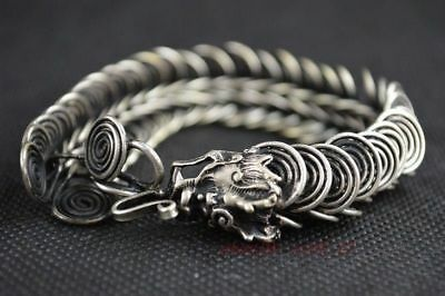 China Collectibles Handwork Tibet - Silver & Chinese old lucky Dragon Bracelet