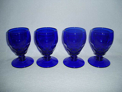 4 PADEN CITY Glass GEORGIAN COBALT BLUE Low Foot Water Goblets, Free U.S. Ship
