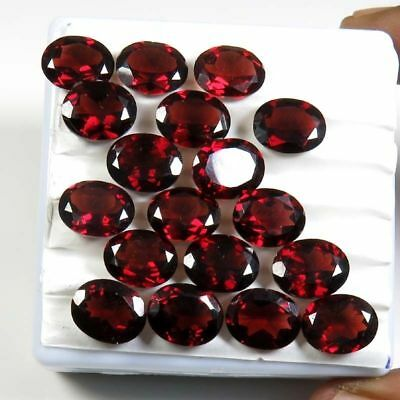 Amazing 10 Piece Natural Garnet 8x10 mm Oval Faceted Cut Cabochon Loose Gemstone