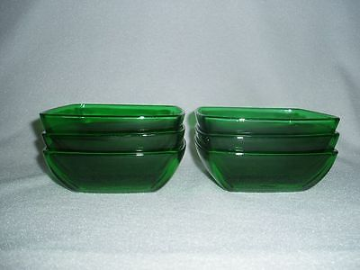 Forest Green Charm Dessert Bowls Anchor Hocking, Set of 6 Free U.S. Shipping