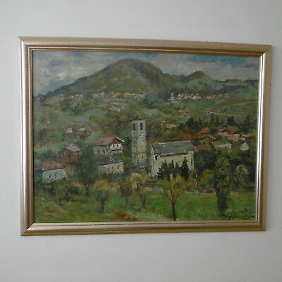 SUPERB Orig POST IMPRESSIONIST Italian/French OIL-ON-BOARD LANDSCAPE.Signed 1963