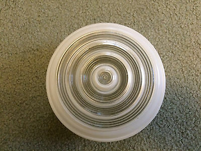 "Vintage Art Deco Clear And Frosted White Glass Round 6 3/8"" Ceiling Light Shade"