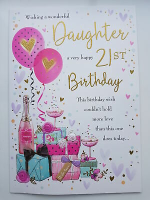 Large Daughter 21st Birthday Card Quality Nice Verse Champagne