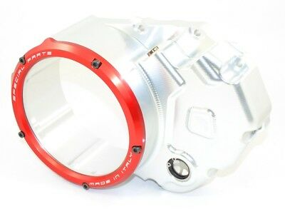Ducabike Ducati Diavel Clear Clutch Cover - Silver-Red