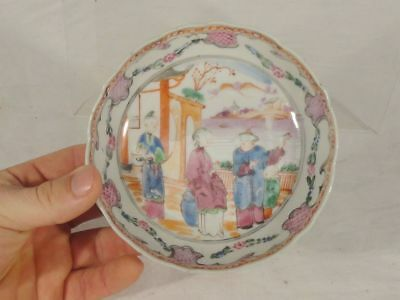 Antique Chinese Mandarin Palette Decorated Tea Cup Saucer PLate Dish