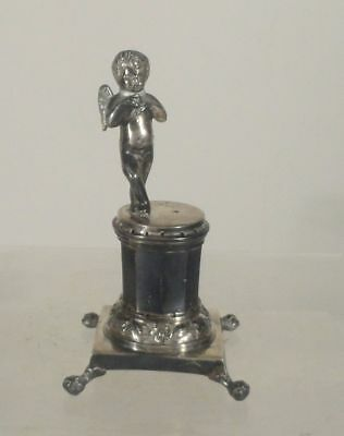 Antique Silver Spanish Colonial Cupid Putti Figure Mexico City Statue Holder