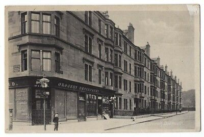 DALMUIR Clydebank, Burns Street Showing Grocery Shop, Old Postcard Unposted 1918