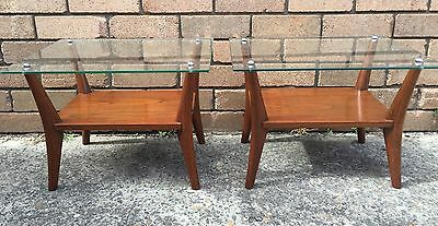 PAIR of QUALITY VINTAGE GLASS & BLACKWOOD BEDSIDE TABLES Danish Mid Century