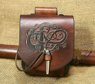 Belt Pouch Medieval urnes-stil Dragon Embossing Leather Brown Viking Pouch