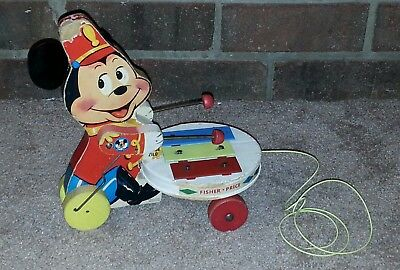 1963 Fisher Price 714 Wood Mickey Mouse Club Zilo Sears Wood Pull Toy Works (n1)