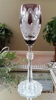 FABERGE Imperial CZAR Purple Cut to Clear Crystal Sherry Wine Goblet SIGNED!