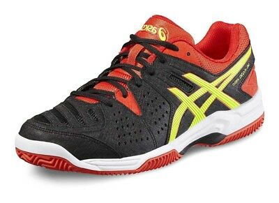 Mens Asics Gel Padel Pro 3 SG E511Y Black Red Yellow Lace Up Running Trainers
