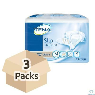 TENA Slip Active Fit Ultima (PE Backed) - Medium - Case Saver - 3 Packs of 21