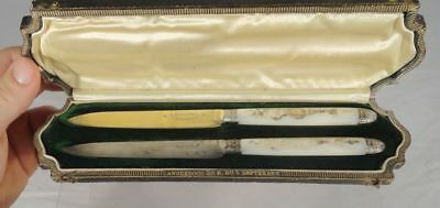 Antique Vintage Sterling Silver French Mother of Pearl Knives Boxed Gilt Gavet