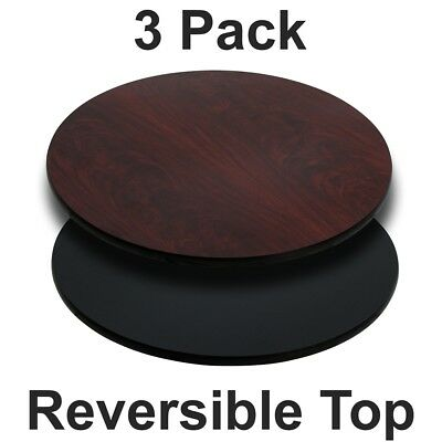 3 Pk. 24'' Round Table Top with Black or Mahogany Reversible Laminate Top