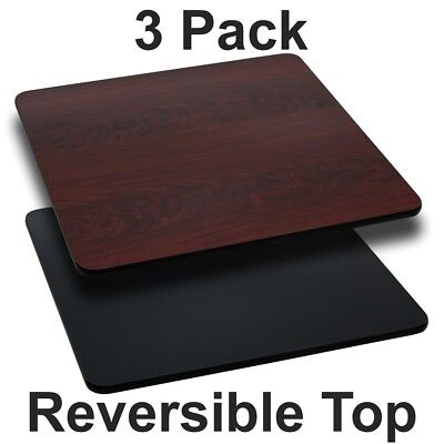 3 Pk. 30'' Square Table Top with Black or Mahogany Reversible Laminate Top