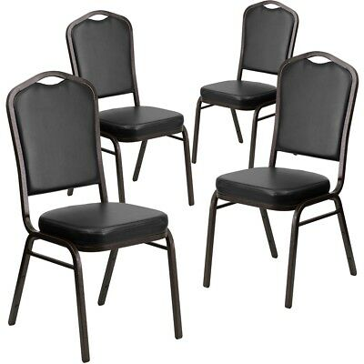 4 Pk. HERCULES Series Crown Back Stacking Banquet Chair with Black Vinyl and...