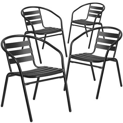 4 Pk. Black Metal Restaurant Stack Chair with Aluminum Slats