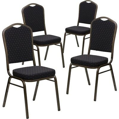 4 Pk. HERCULES Series Crown Back Stacking Banquet Chair with Black Patterned...