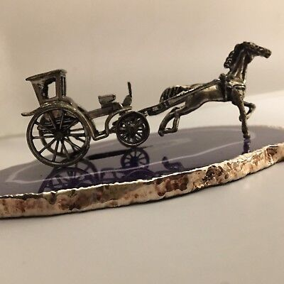 STUNNING DETAIL Solid Sterling Silver Horse & Carriage Handcrafted in ITALY-L740