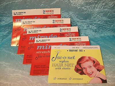LOT OF 5 VINTAGE HAIR NETS Jac-o-net Nylon with elastic Brown