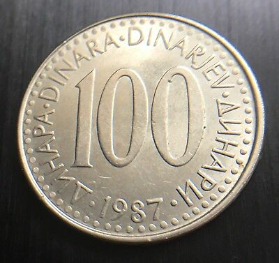 Yugoslavia 1987 100 Dinar Coin 29 Mm Diameter