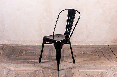 Tolix Style Metal Dining Chairs Restaurant Café Chairs In Black