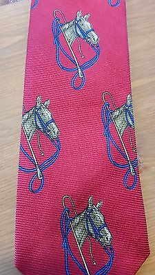 vintage POLO by Ralph Lauren red silk tie - horses equestrian - Christmas