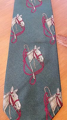 vintage POLO by Ralph Lauren green silk tie - horses equestrian - Christmas