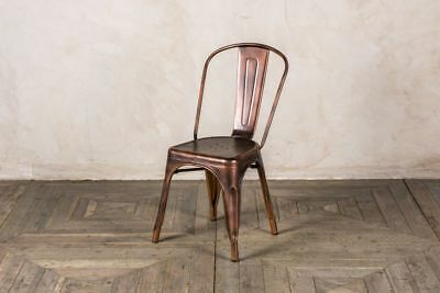 Vintage Industrial Style Metal Tolix Style Stacking Chair In Copper