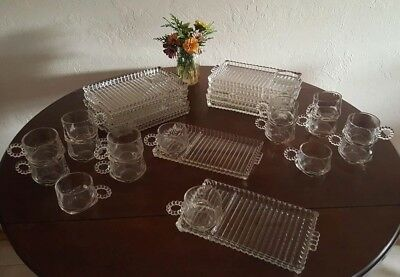 28 piece Vintage Hazel Atlas Ball and Rib pattern (candlewick) snack trays cups