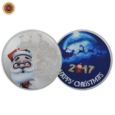 WR 2017 Marry Christmas Santa Claus Colored Silver Coin Novelty Xmas Gifts Kids
