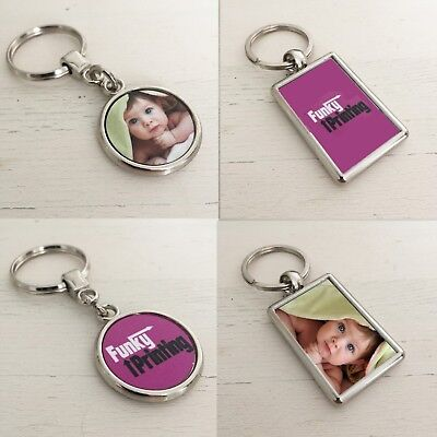 Custom Photo Keyring, Silver Double Sided Personalised Gift, Any Image Logo Text