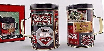 "Coca Cola Coke Sign Art Salt & And Pepper Shakers Tin Set 3 3/4"" X 3 1/2"" New"