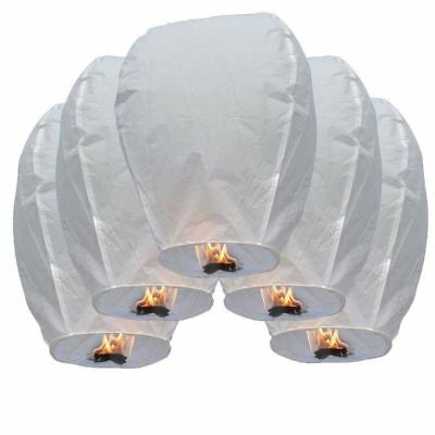 50PCS WHITE Chinese Paper Flying Sky Fire Lanterns Wishing Wedding Party Lamp