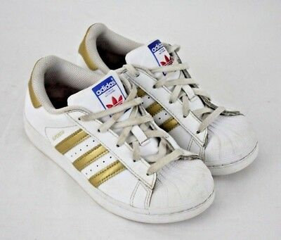 Adidas Superstar Boys Girls White Gold Low Top Sneakers Shoes Size 13K