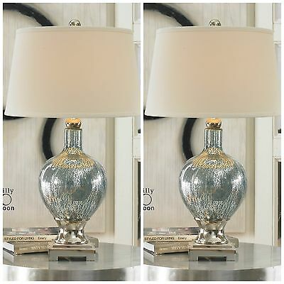 Two Blue Mercury Glass Table Desk Lamps Chrome Plated Metal Accents White Shades