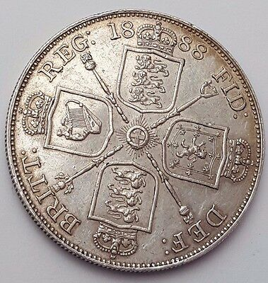 Dated : 1888 - Double Florin - Four / 4 Shillings - Queen Victoria - Silver Coin