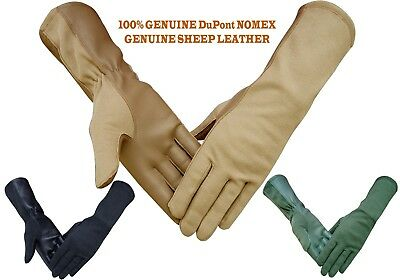 Nomex Leather Tactical Military Pilot Flight Flyers Fire Heat Resistant Gloves