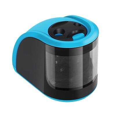 Electric Pencil Sharpener Double Holes School Classroom Office Home Artists Blue