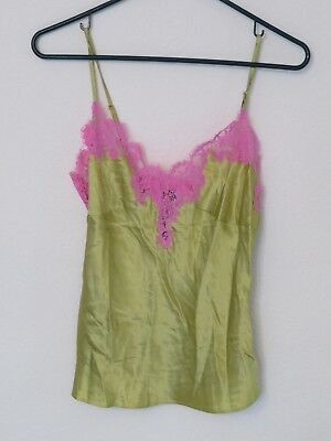 New Women's Victoria's Secret 100% Silk Green Camisole w/ Pink Lace Size Small