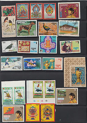 bhutan beautiful all different stamps composition / accumulation  290+   b1.1