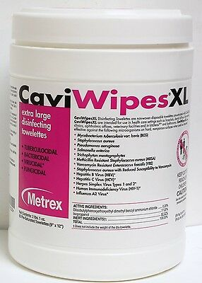 LOT OF 3!!! METREX XL Caviwipes Disinfectant Cleaner Cloth #13-1150 Cavi wipe