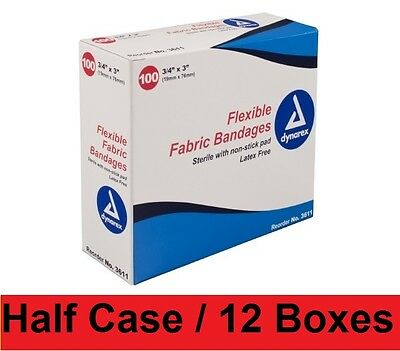 """Dynarex Adhesive Sterile 3/4"""" x 3"""" Fabric Bandages 3611 Band Aid Half Case!"""