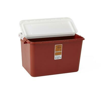 1 EACH! Sharps Container 8 Gallon Biohazard SHARP Red Base Hinged Lid Disposal